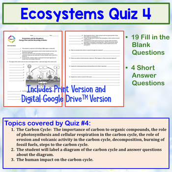 Ecology Quiz: Energy Flow and the Recycling of Matter (Ecosystems)