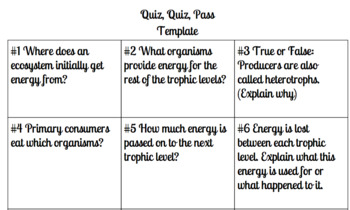 Ecology Quiz Quiz Pass