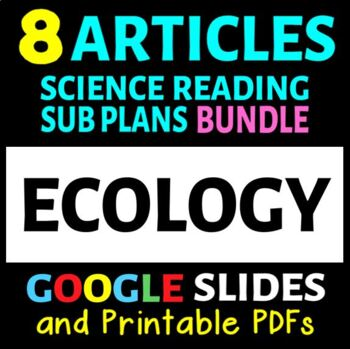 Ecology Reading Articles - 8 Article Bundle (Sub Plans or