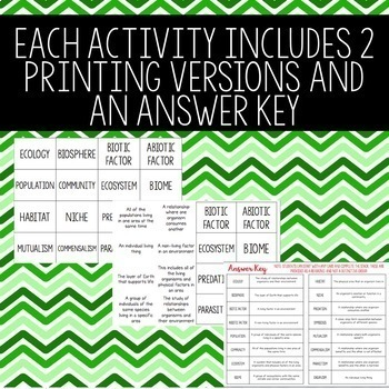 Ecology Review Activity BUNDLE