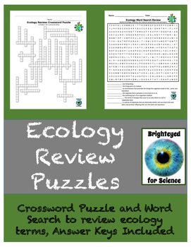Ecology Review Crossword Puzzle and Word Search