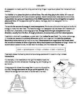 Ecology Summary and Handout Worksheet
