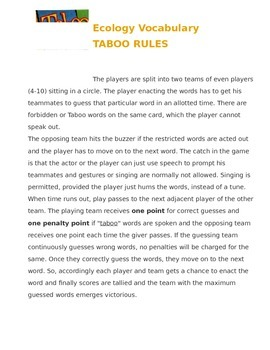 Ecology Taboo Vocabulary Game