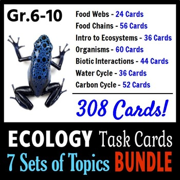 Ecology Task Cards BUNDLE - 7 Sets of Topics {With Editable Templates}