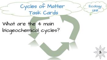 Ecology Task Cards: Cycles of Matter (Water, Carbon, Nitrogen Cycles)
