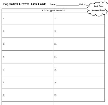 Ecology Task Cards: Population Growth (Exponential and Logistic Growth)