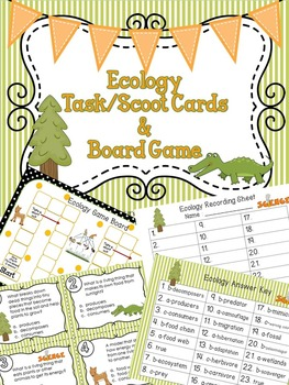 Ecology Task / Scoot Cards & Game board