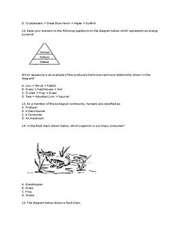 Ecology Unit Exam
