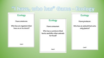 Ecology Unit - I have who has vocabulary game