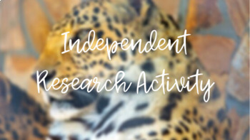 Ecology Unit - Independent Research Activity