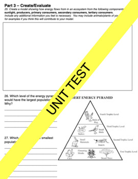 Ecology Unit Test and Study Guide