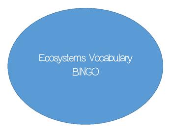 Ecology Vocabulary Bingo Cards