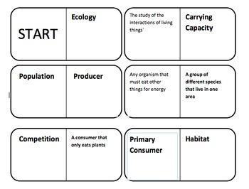 Ecology Vocabulary Dominoes Review Game