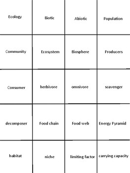Ecology Vocabulary Station