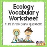 Ecology Vocabulary Worksheet