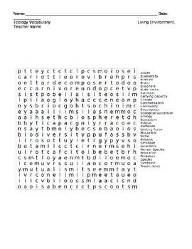Ecology Word Search by Lindsey Congalosi | Teachers Pay Teachers