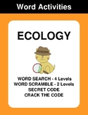 Ecology - Word Search Puzzle, Word Scramble,  Crack the Code