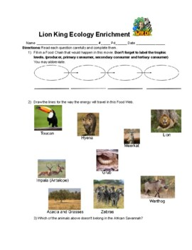 Ecology Worksheet For The Lion King