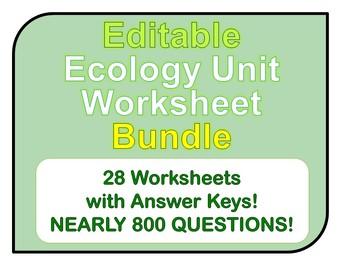 Ecology Worksheets *EDITABLE BUNDLE!*