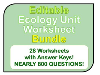 Ecology Worksheets *EDITABLE BUNDLE!*