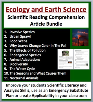 Ecology and Earth Science - Grade 5-7 - Science Reading Article Bundle
