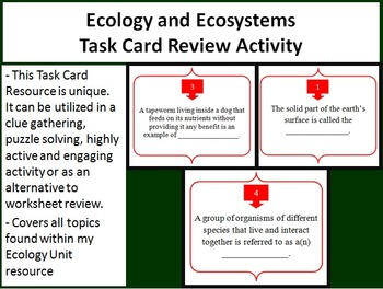 Ecology and Ecosystems Task Card REVIEW GAME - Unique and