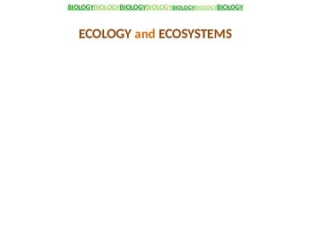 Ecology and Ecosytems