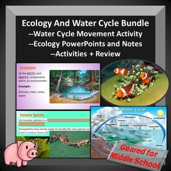 Ecology and Water Cycle Bundle Middle School -- PowerPoints, Notes, Activities