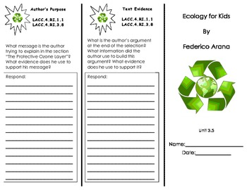 Ecology for Kids/ Journeys Common Core Trifold