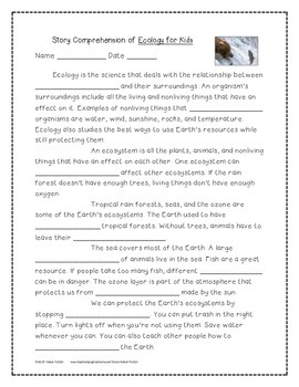 Ecology for Kids Supplemental Activities 4th Grade Journeys Unit 3, Lesson 15
