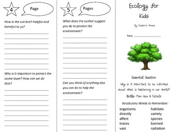 Ecology for Kids Trifold - Journeys 4th Grade Unit 3 Week 5 (2014, 2017)
