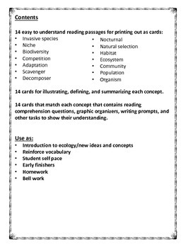 Ecology vocabulary and reading comprehension