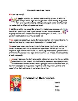 Econ Unit Middle School