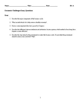 Economic Challenges Discussion/Essay Questions