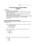 Economic Decision Making Unit Test