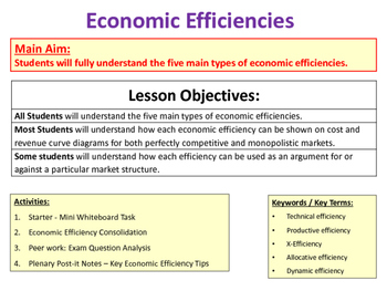 Economic Efficiencies - Technical, Productive, X-Efficiency, Dynamic, Allocative