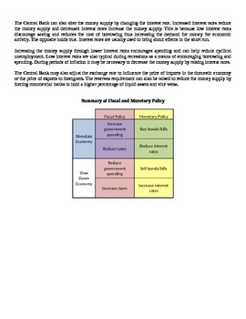 Economic Policy - Fiscal and Monetary Policy - Lecture Notes