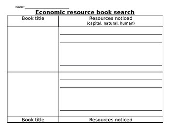 Economic Resource Book Research