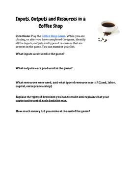 Economic Resources in a Coffee Shop Entrepreneurship Game w/Key