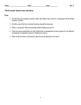 Economic Systems Discussion/Essay Questions