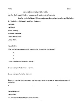 Economic Systems Lecture Notes Outline