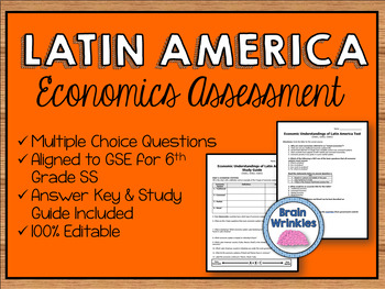 Economic Systems of Latin America Assessment (Editable)
