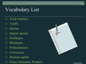 Economics Vocabulary Activity - Economic Terms PowerPoint