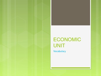Economic Unit PowerPoint of Terms and Definitions