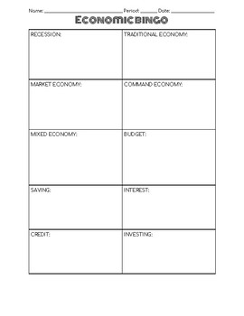 Economic Unit Vocabulary and Bingo!
