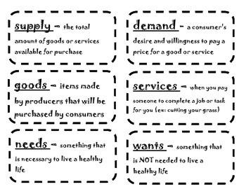 Economic Vocabulary Flash Cards