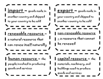 Economic Vocabulary Flash Cards