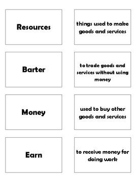 Economic Words for Grades 1 - 2