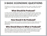 Economics-3 Basic Economic Questions Handout/Poster
