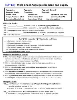 Economics [AP] - AD/AS Homework Assignment
